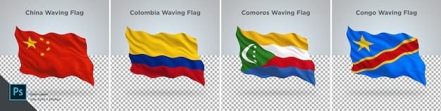 Flags set of china, colombia, comoros, congo, flag set on transparent