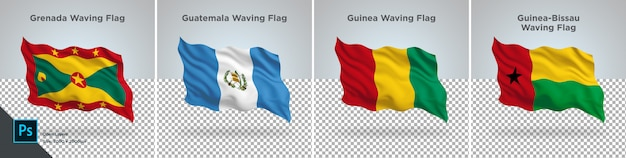 Flags set of grenada, guatemala, guinea, guinea-bissau flag set on transparent