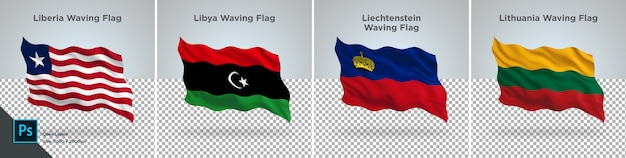 Flags set of liberia, libya, liechtenstein, lithuania flag set on transparent
