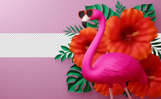Flamingo wearing glasses and hibiscus flowerwith leaves, summer season, summer template 3d rendering