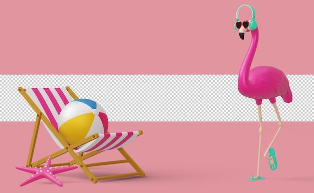 Фламинго с наушниками и пляжным снаряжением, летний сезон 3d-рендеринга