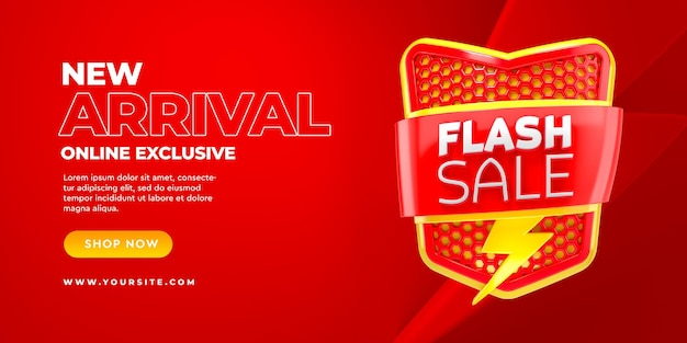 Flash sale 3d banner template new arrival