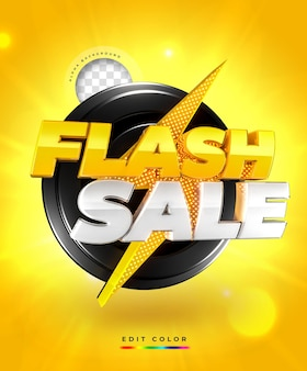 Flash sale 3d banner template with thunderbolt