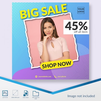 Flash sale fashion discount offer instagram post template or square banner