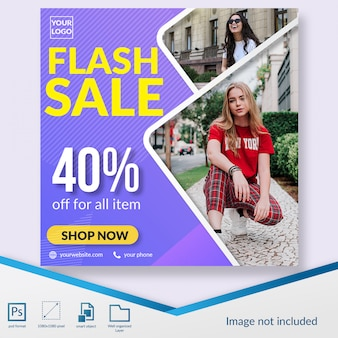 Flash sale fashion discount offer social media post template