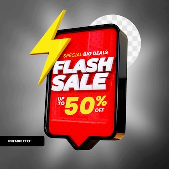 Flash sale text box with discount in 3d rendering
