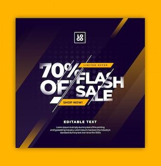 Flash sale text effect instagram social media template
