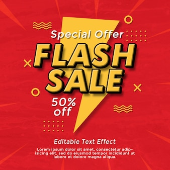 Flash sale text effect social media banner template