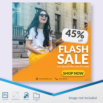 Flash sale woman fashion sale instagram post template or square banner