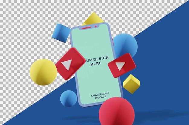 휴대 전화 모형의 평면 3d 디자인
