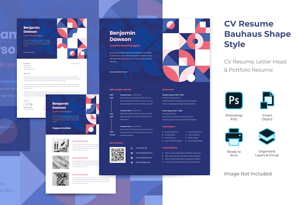Flat bauhaus professional curriculum template