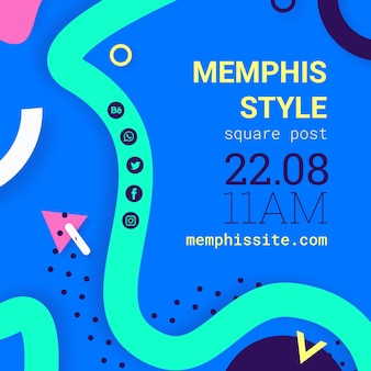 Flat blue memphis style background