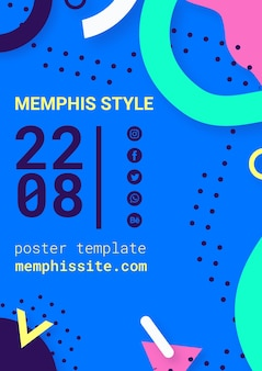 Flat blue memphis style poster