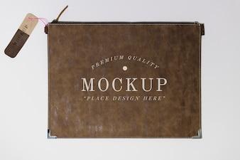 Flat brown leather purse mockup