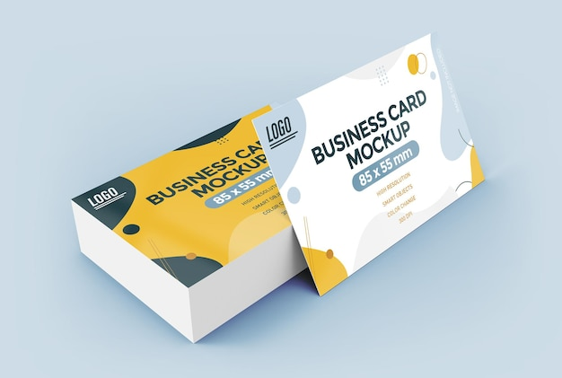 Flat business card mockup design isolated