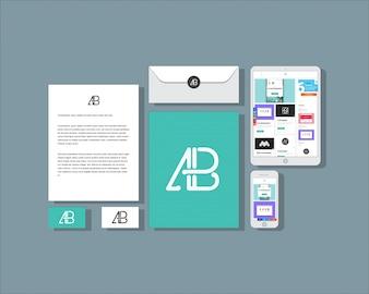 モックアップフラット・ビジネス・文具