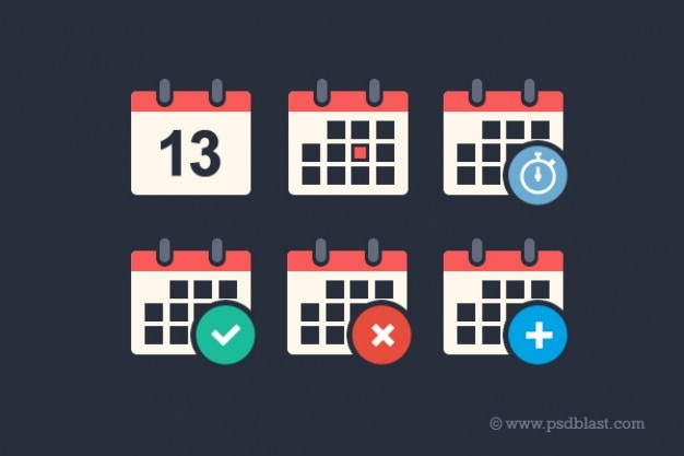 Flat calendar psd icon set