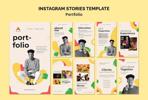 Плоский дизайн шаблона портфолио insta stories
