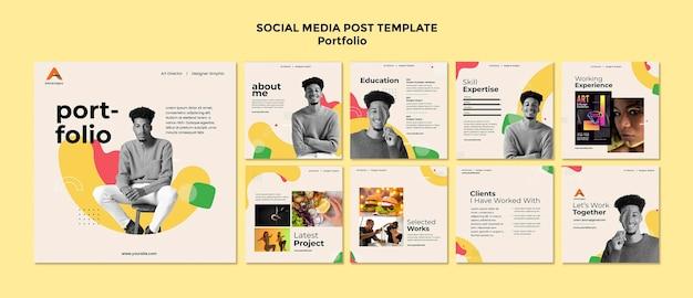 Flat design of portfolio social media post template