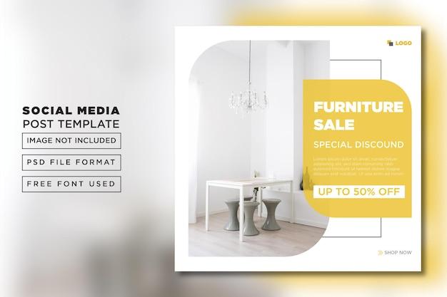 Flat instagram flyer for interior sales post template premium psd