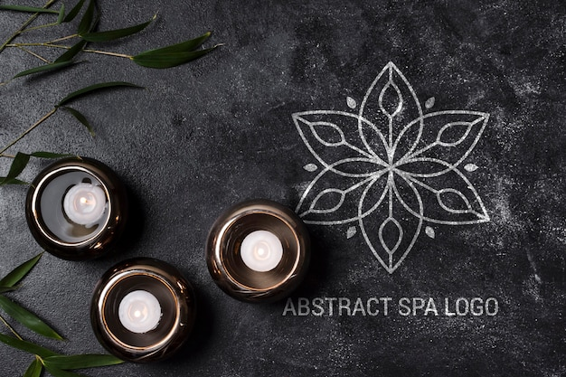 Flat lay abstract spa salon logo template