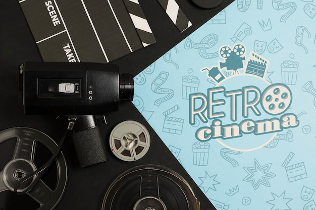 Flat lay arrangement of cinema elements mock-up
