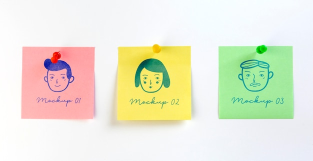 Disposizione piatta di adesivi mock-up