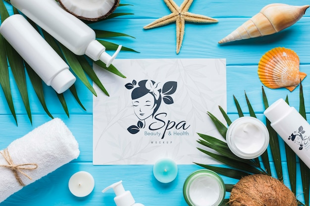 Flat lay arrangement mock-up with spa elements