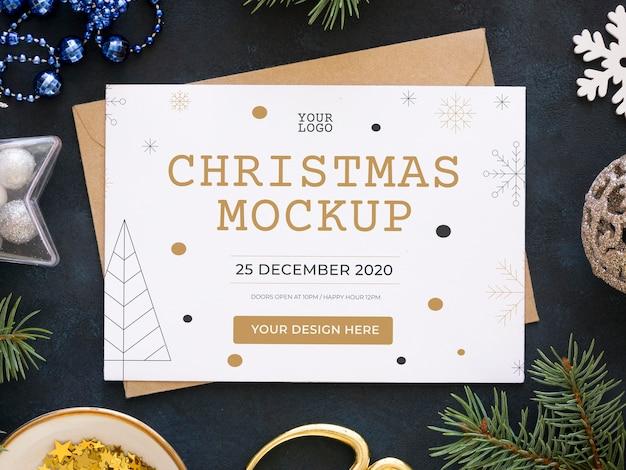 クリスマスイブの要素のフラットレイアレンジメント