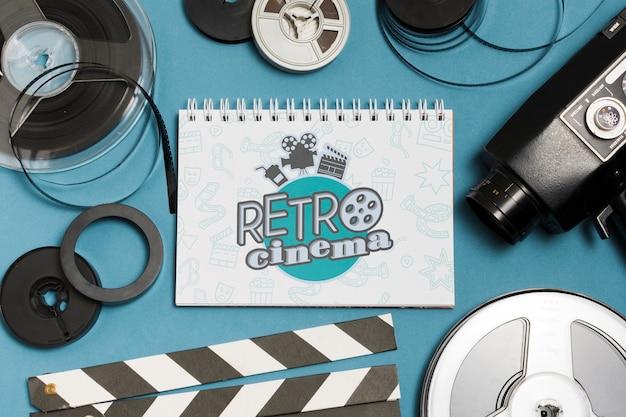 Flat lay assortment of cinema elements mock-up