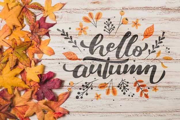 Flat lay autumnal arrangement on wooden background