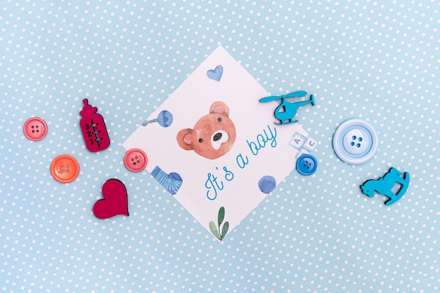 Flat lay of baby shower decorations
