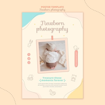 Flat lay baby sleeping poster template
