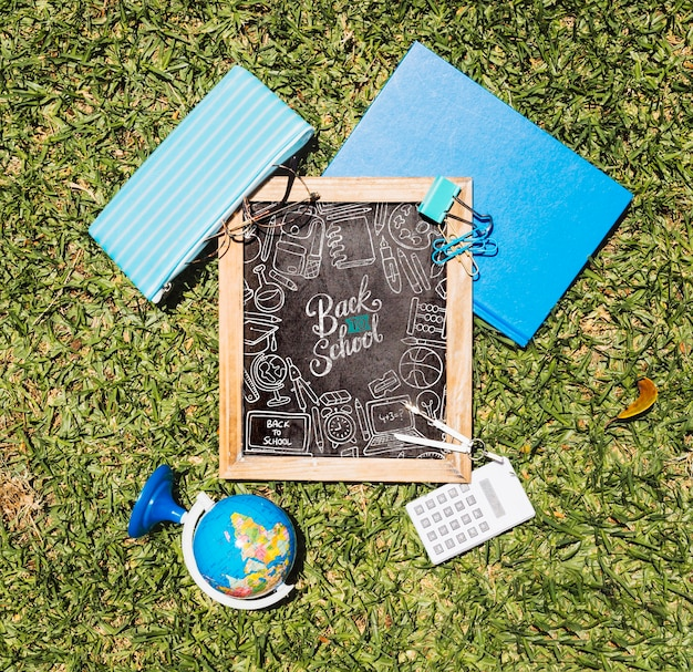 Flat lay back to school arrangement on grass
