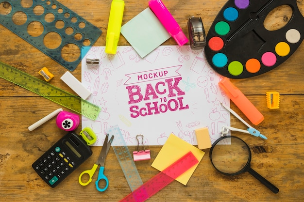 Flat lay back to school mock-up