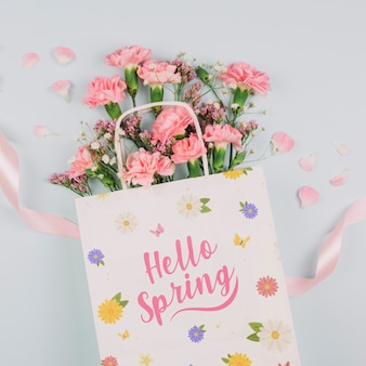 Flat lay bag mockup with spring concept