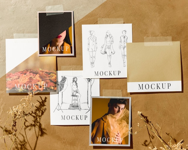 Flat lay of beautiful autumn moodboard mock-up