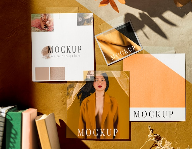 Lay piatto del bellissimo mock-up di moodboard autunnale