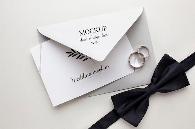 Flat lay of beautiful wedding concept mock-up