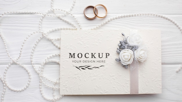 Flat lay of beautiful wedding concept mock-up