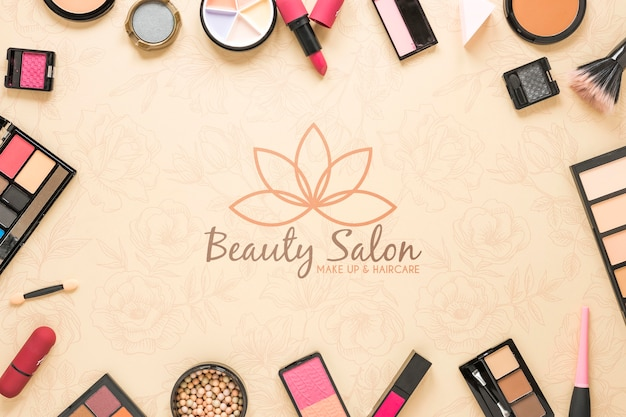 Flat lay beauty salon concept