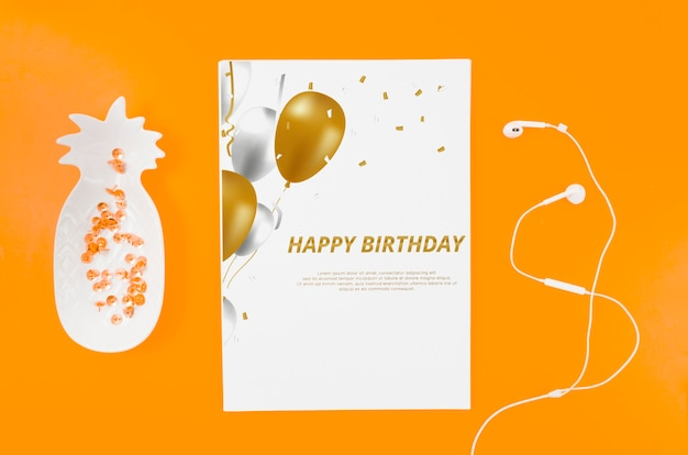 Flat lay birthday card mock-up