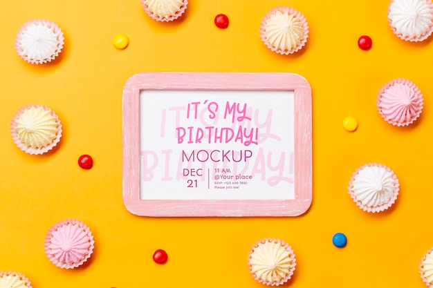 Flat lay birthday concept with frame