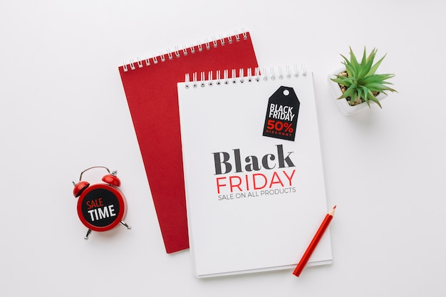 Flat lay of black friday concept mock-up