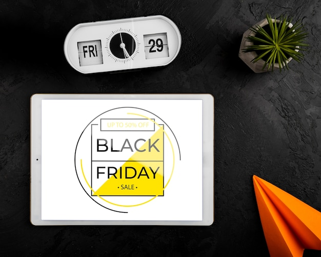 Flat lay of black friday concept tablet mock-up
