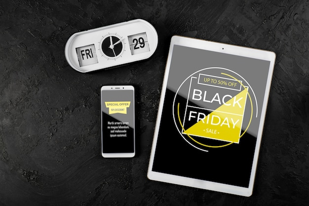 Flat lay of black friday mock-up concept on slate background