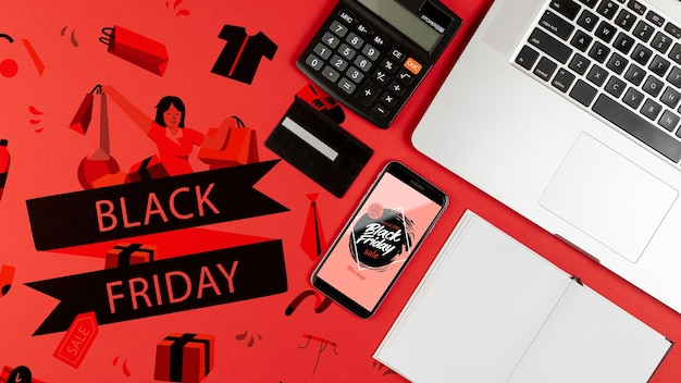 Flat lay black friday mock-up concept