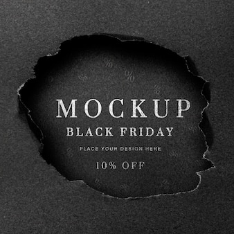 Flat lay black torn mock-up black friday
