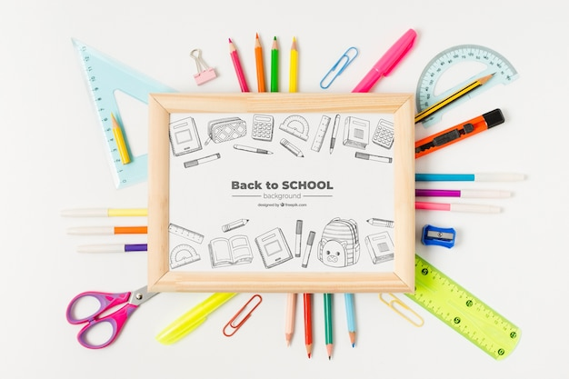 Flat lay board with supplies for school