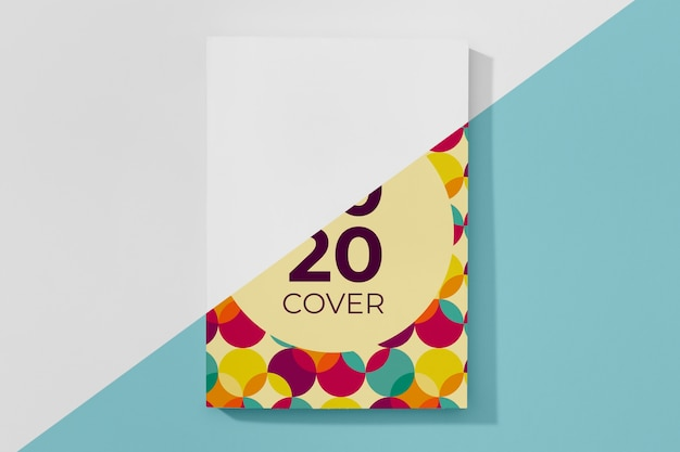 Flat lay book mock-up with colorful circles